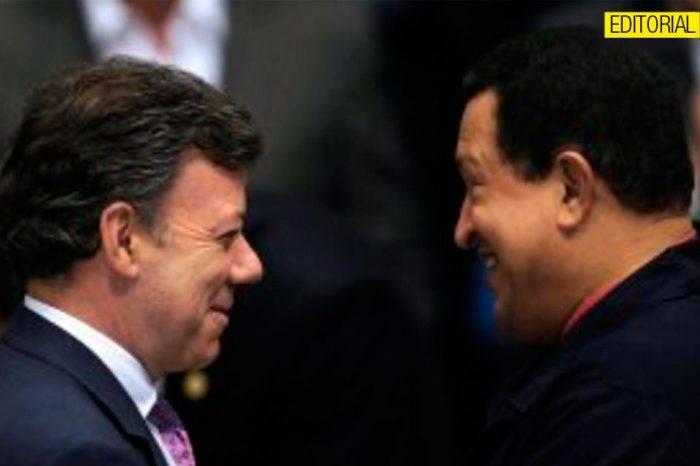 Juan Manuel Santos y Hugo Chávez