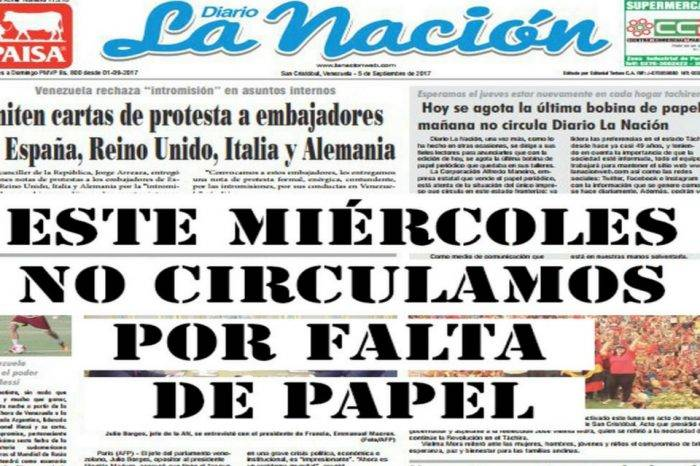 Diario La Nación dejó de circular por no tener papel