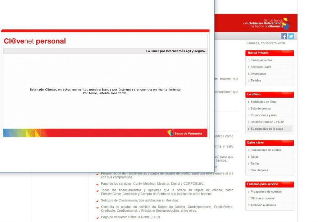 Persisten fallas en p gina web del banco de venezuela for Pagina del banco exterior