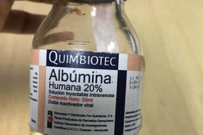 Ecuador alerta sobre venta ilegal de albúmina humana hecha en Venezuela