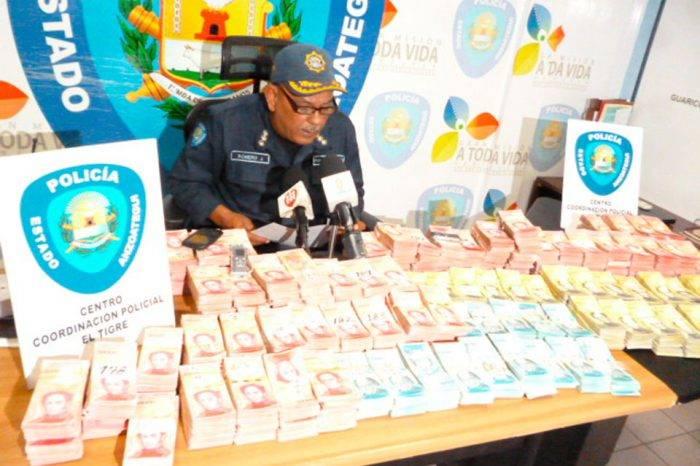Más de un millardo de bolívares en efectivo decomisó Polianzoátegui en El Tigre