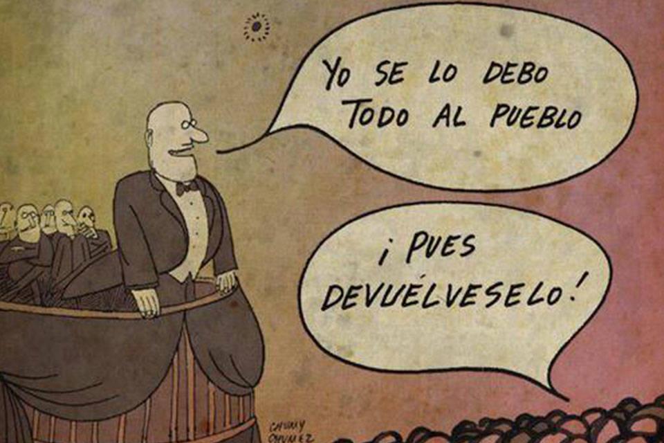 Populismo. Caricatura de: Lorena Arraiz Rodríguez