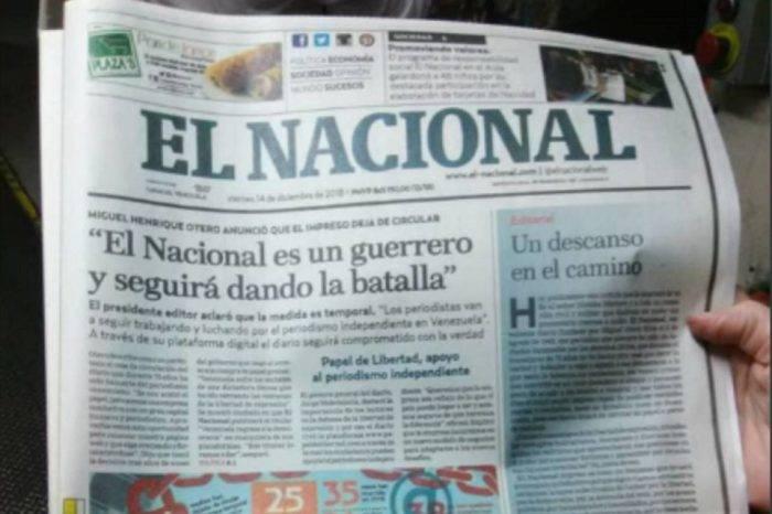 Caracas Press Club atribuye a estrategias dictatoriales cese de El Nacional impreso