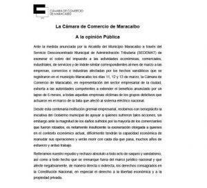 CÁMARA DE COMERCIO DE MARACAIBO.