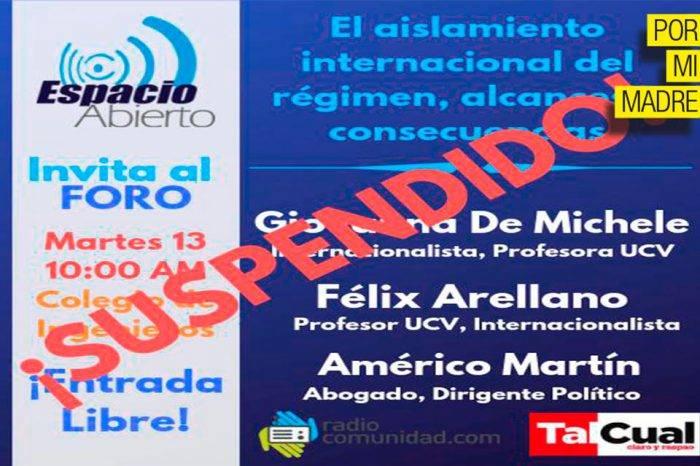 Gobierno censura e impide foro en el Colegio de Ingenieros de Caracas