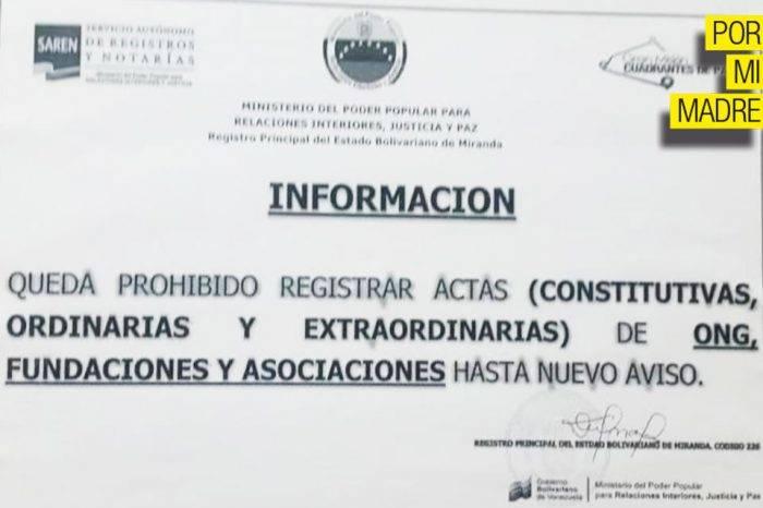 Gobierno prohíbe registrar ONG, Fundaciones y Asociaciones
