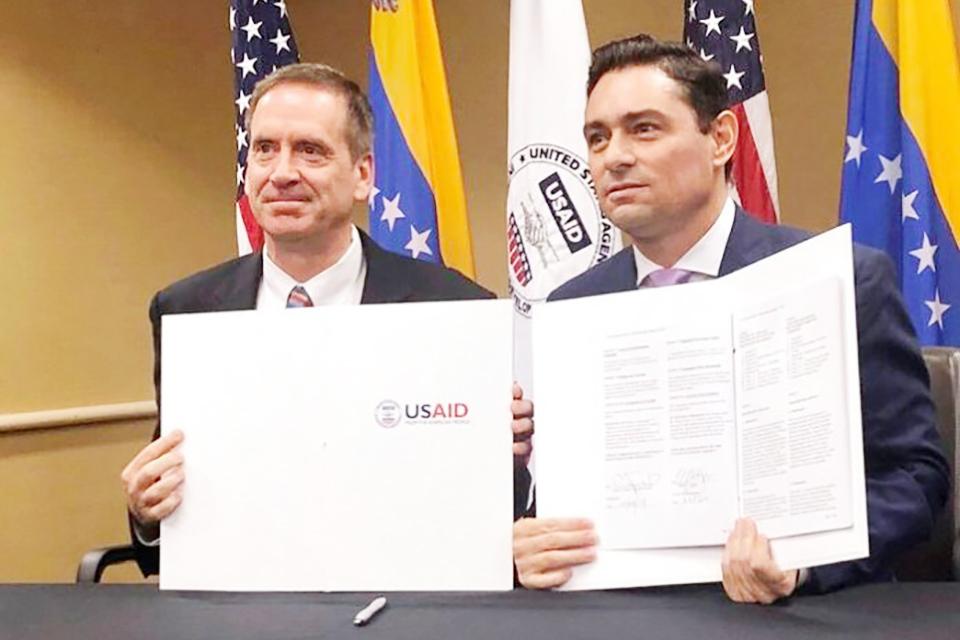 Usaid suscribe acuerdo de cooperación por $98 millones con Guaidó, quien aseguró que le permitirán a su equipo trabajar más eficientemente