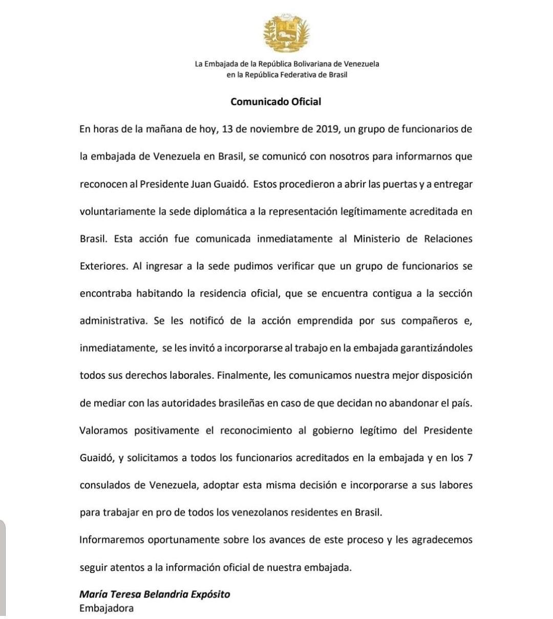 Representante de Guaidó en Brasil asume control de la Embajada
