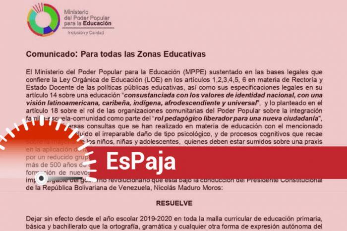 Comunicado del Ministerio de Educación que anuncia fin de la ortografía es falso