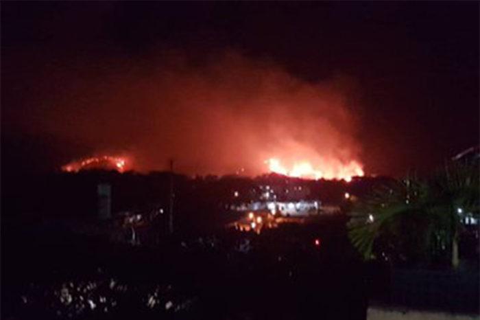 Incendio consume al menos diez hectáreas cercanas a fuerte militar en Carabobo