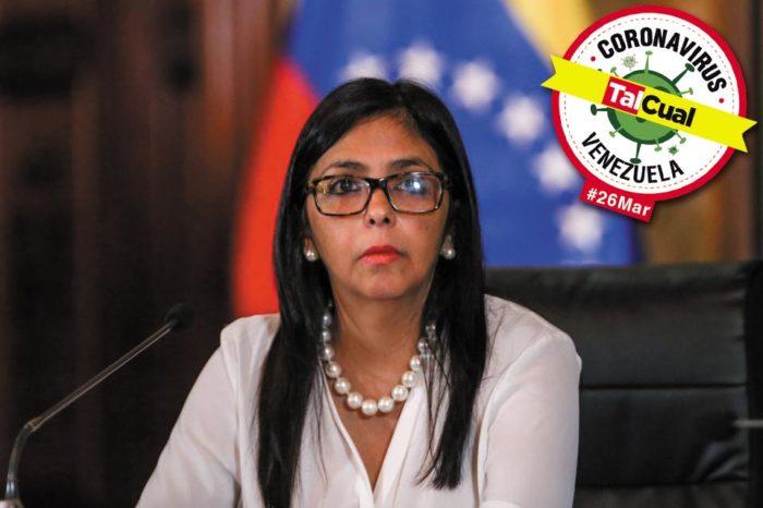 Delcy Rodríguez confirma la primera muerte por covid-19 y reporta un nuevo caso detectado