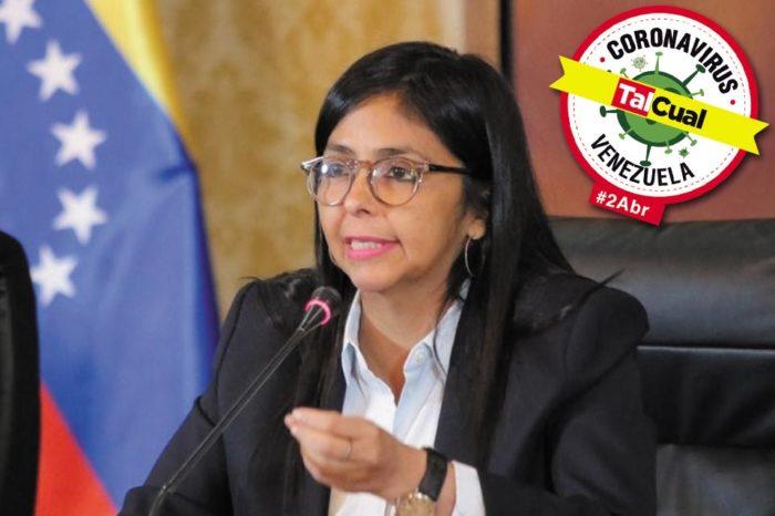 Delcy Rodríguez reporte sobre covid-19