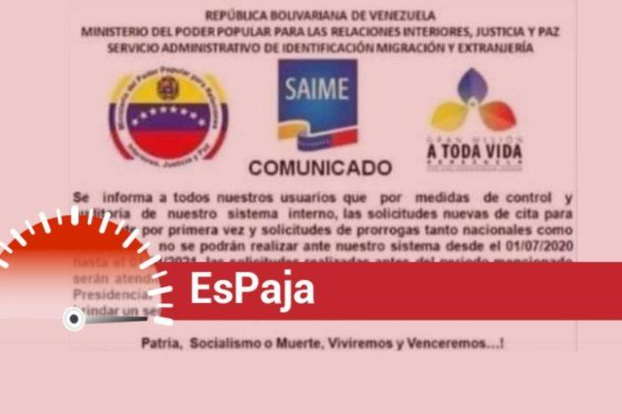EsPaja   ¿El Saime suspendió nuevas solicitudes de pasaportes hasta enero de 2021?