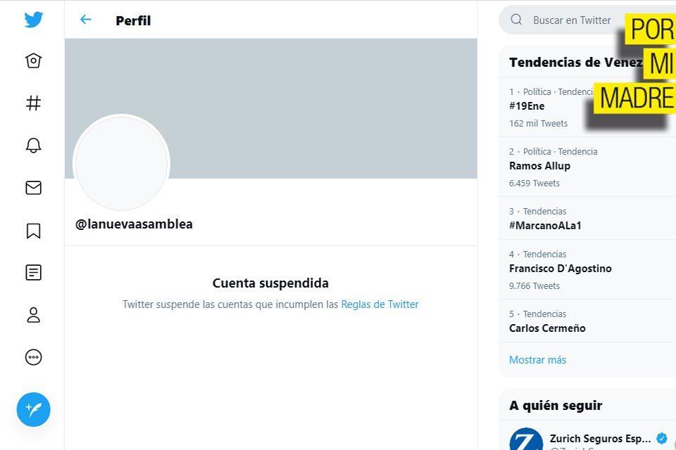 A la AN de Maduro la cuenta en Twitter no le duró ni un suspiro