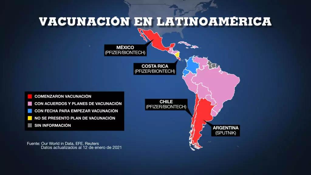 vacunación en américa latina 12 enero 2021 France 24
