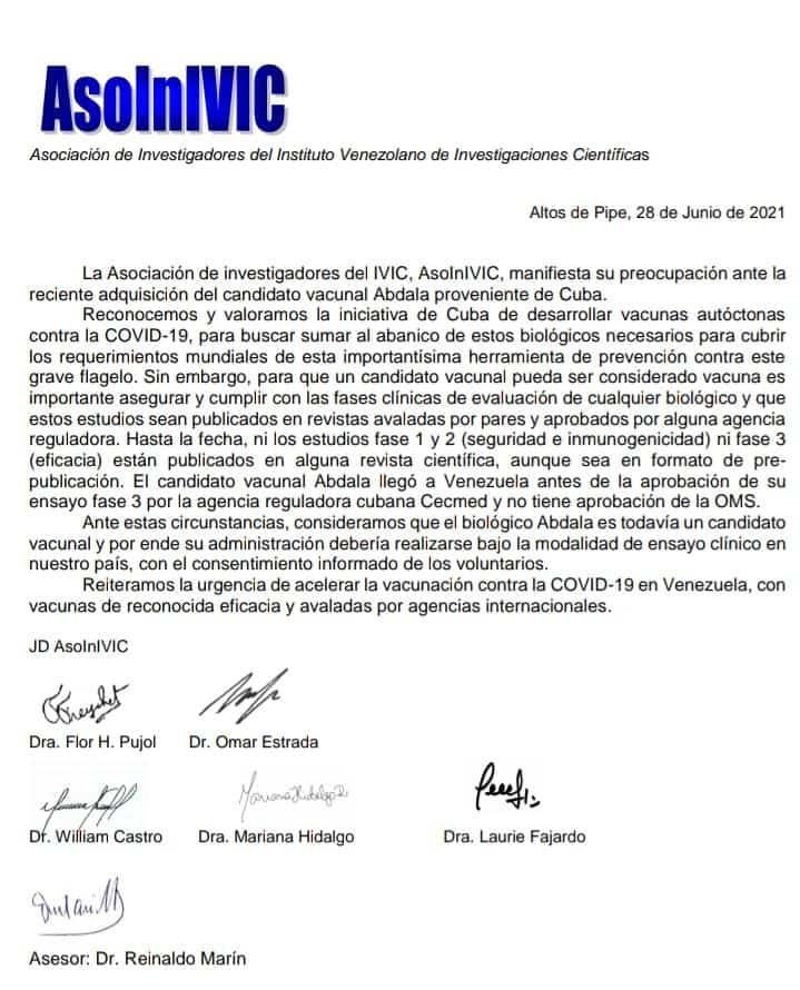 Comunicado del IVIC sobre vacuna Abdala