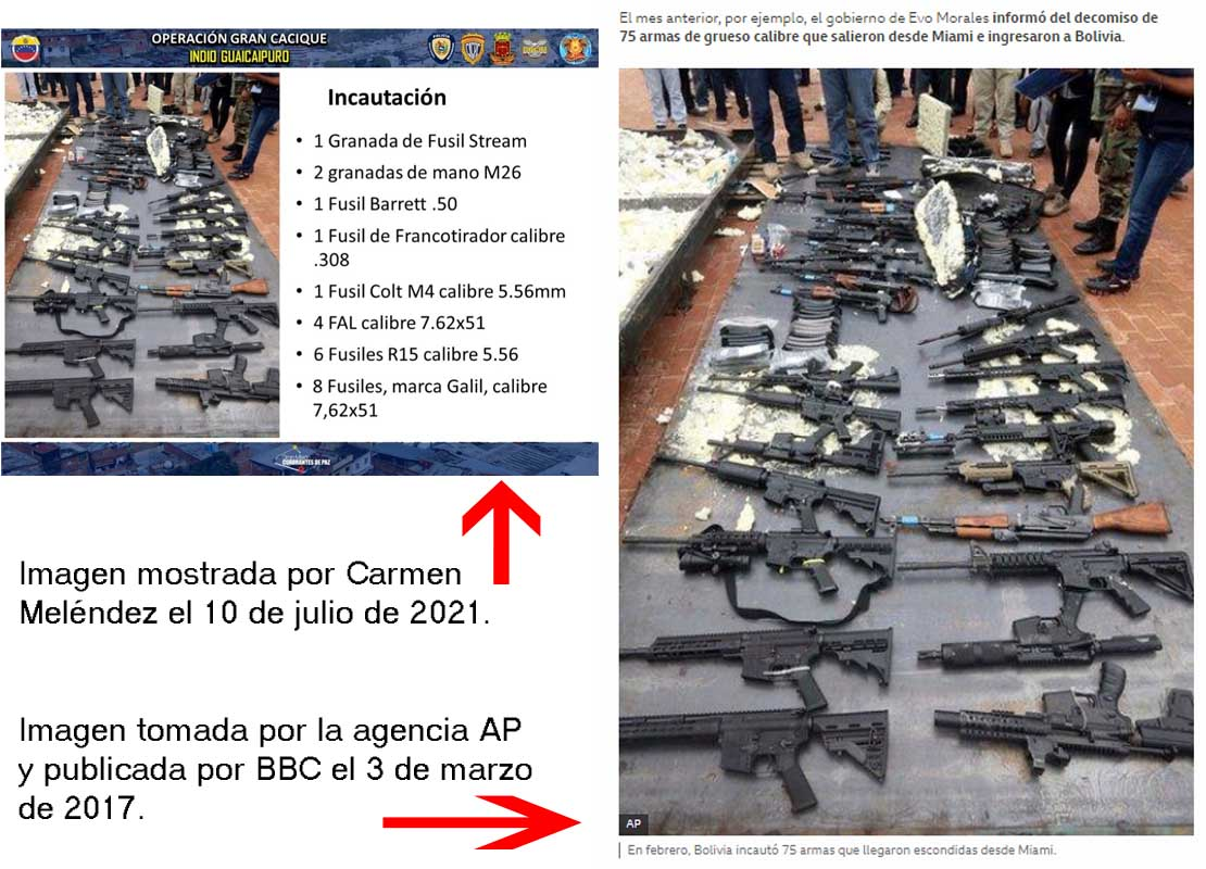 fotos armas incautadas pero en Bolicia Cota 905