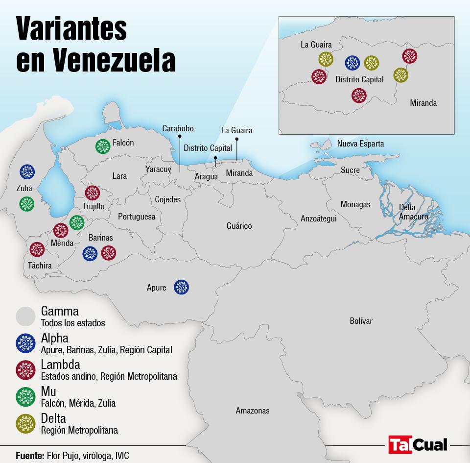 Variantes de covid que circulan en Venezuela